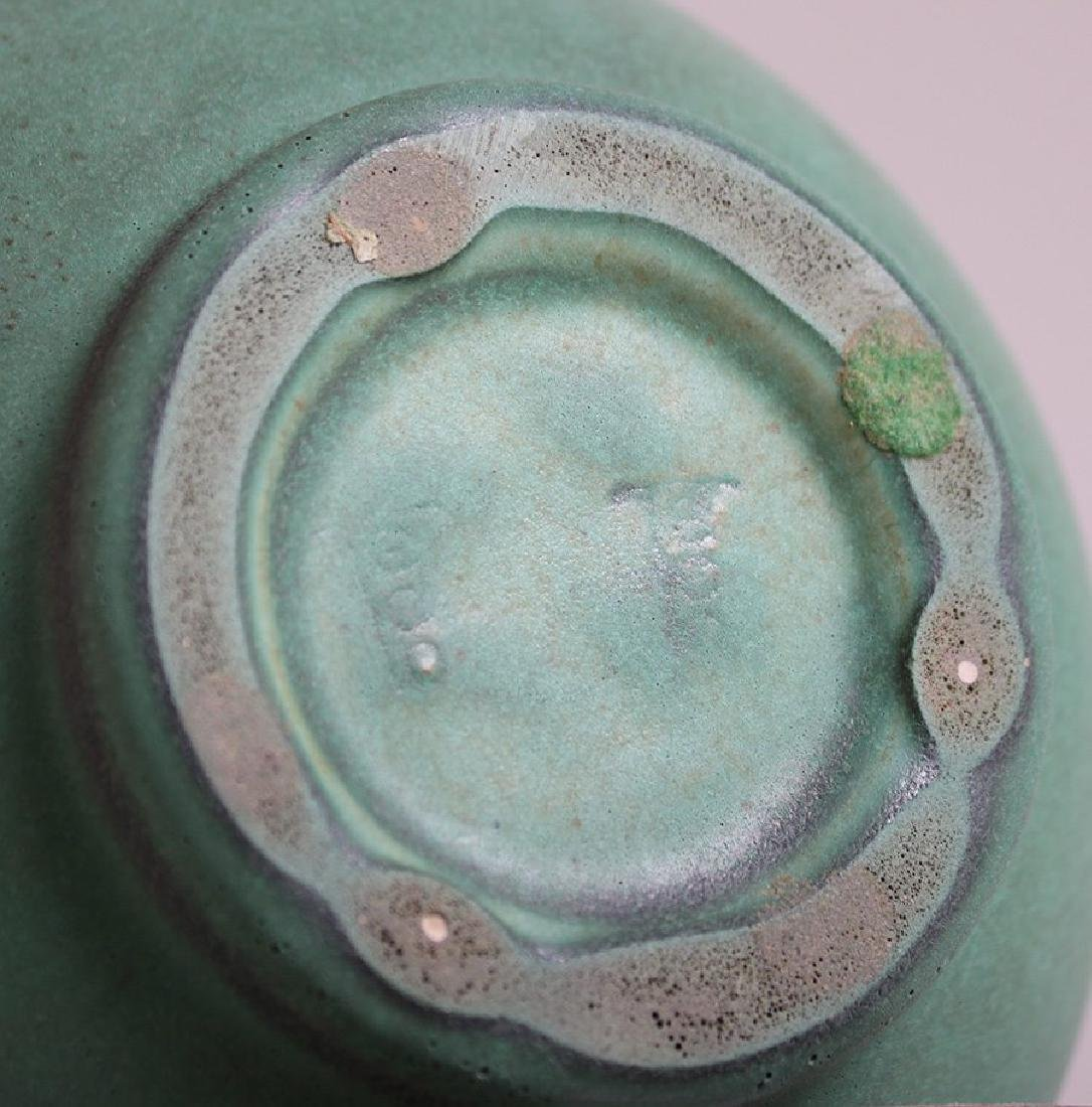 Teco Matte Green Flared Bulbous Vase - 2