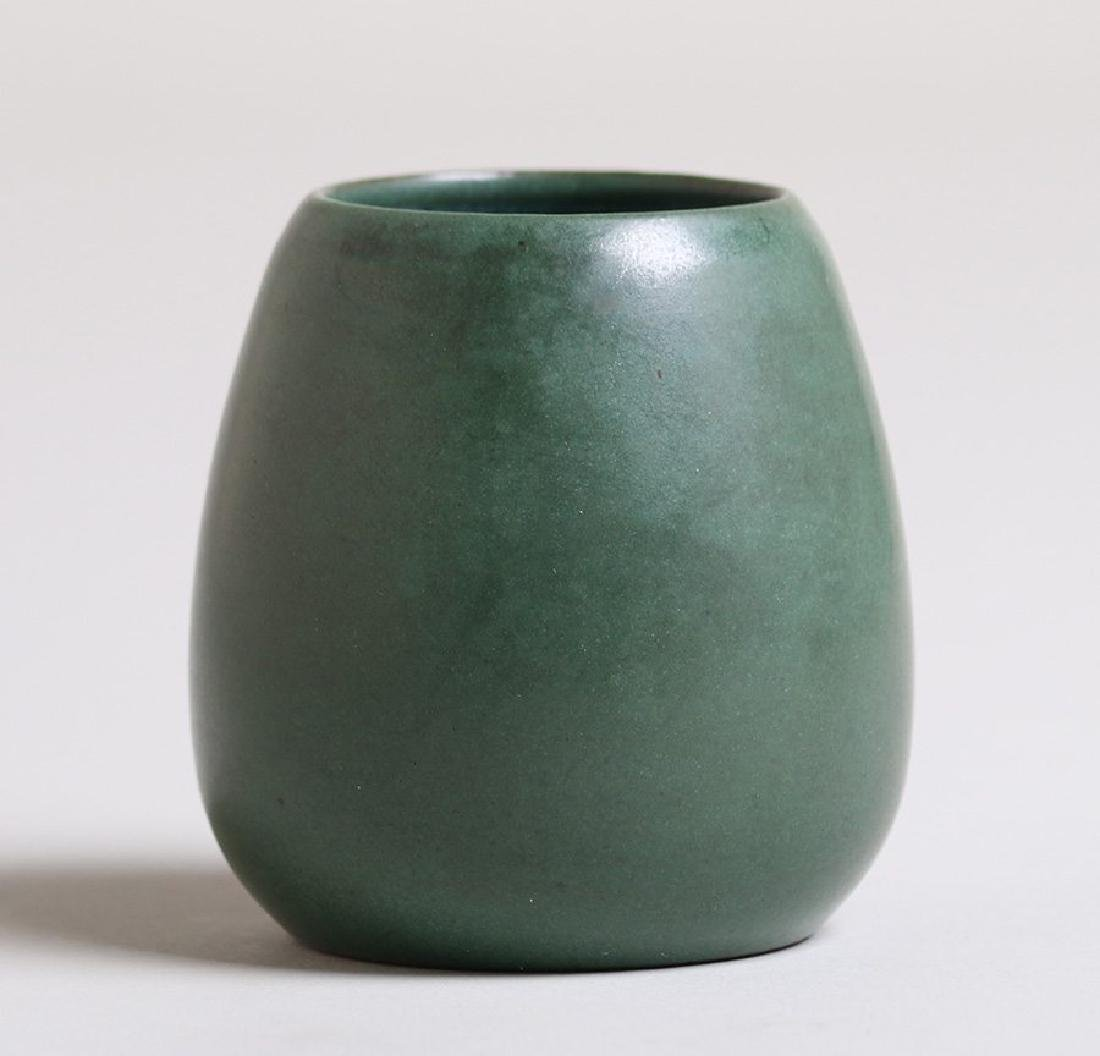 Marblehead Pottery matte green avocado-shaped vase.