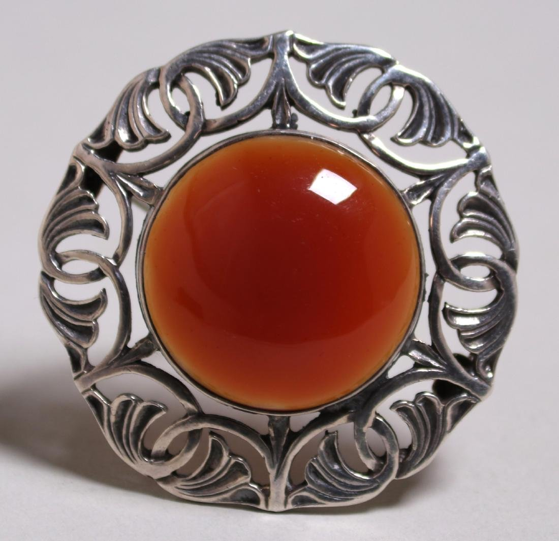 Arts & Crafts sterling silver carnelian brooch c1920s.