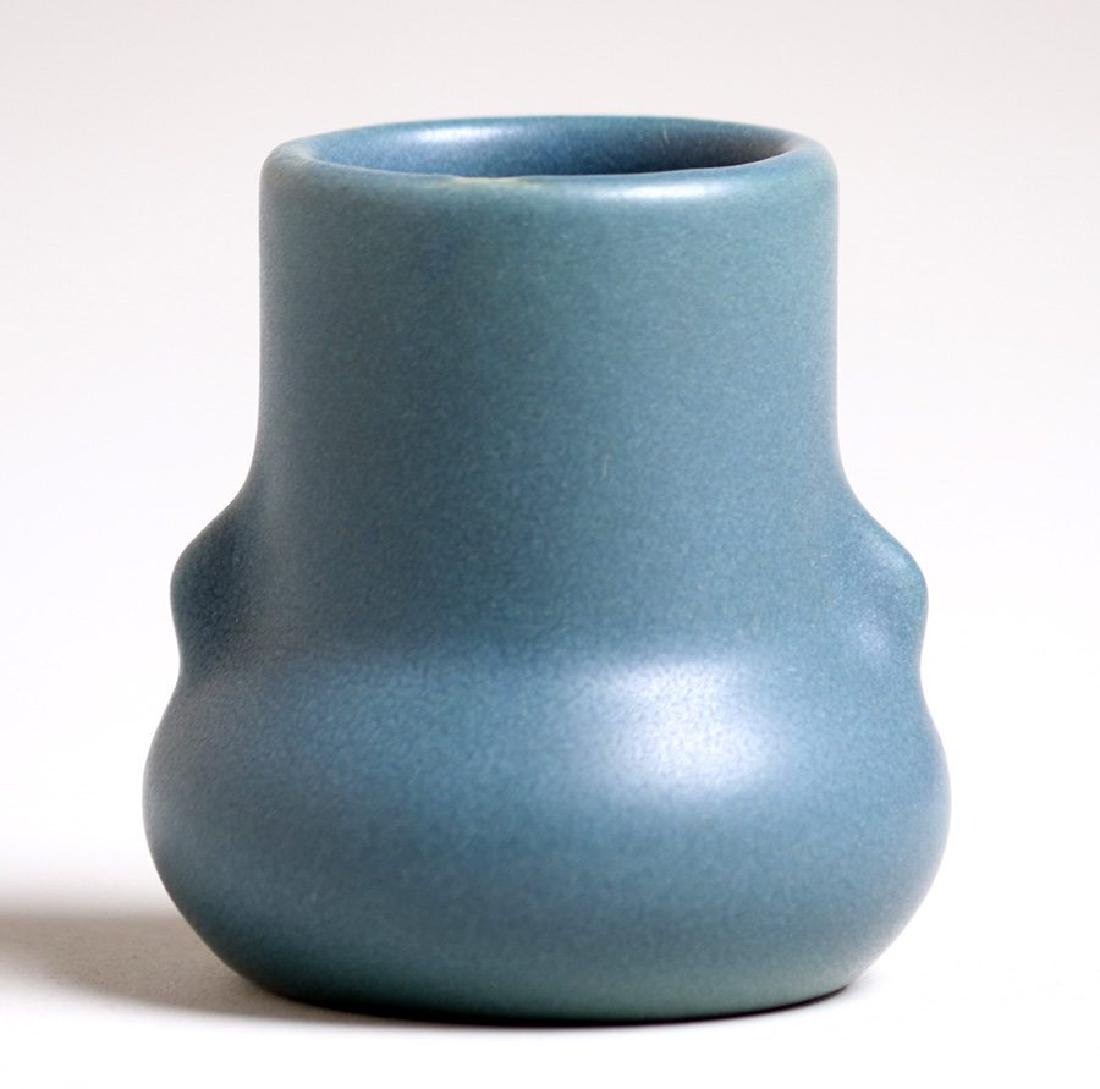 Early Van Briggle matte blue vase dated 1903