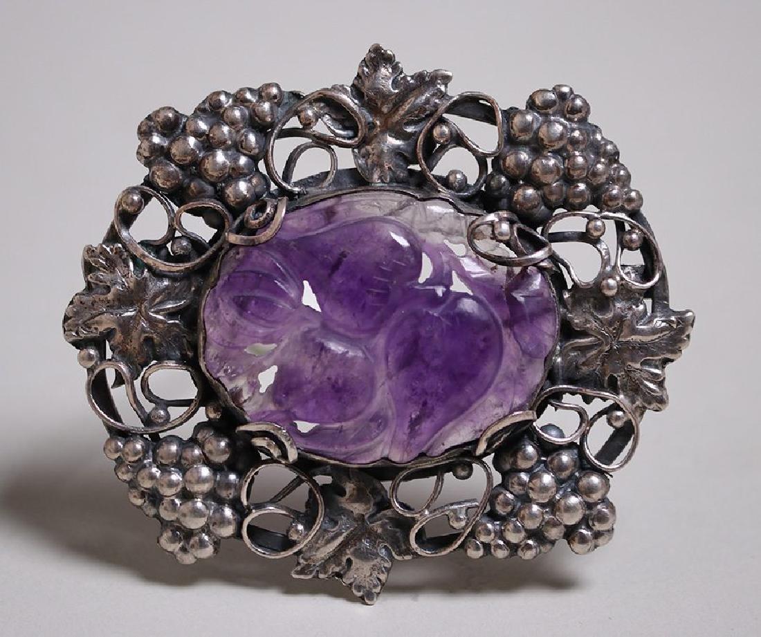 Arts & Crafts Sterling Silver Grapevine Brooch