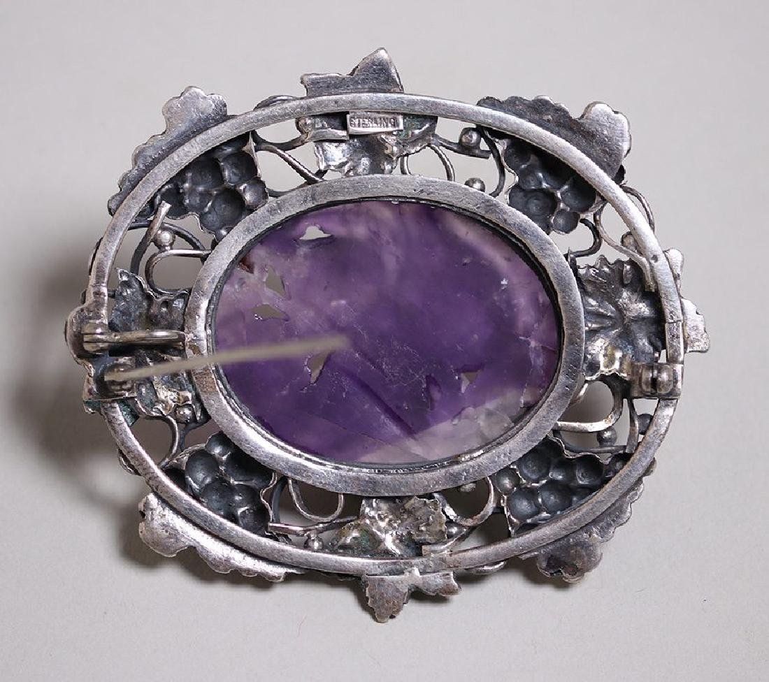 Arts & Crafts Sterling Silver Grapevine Brooch - 2