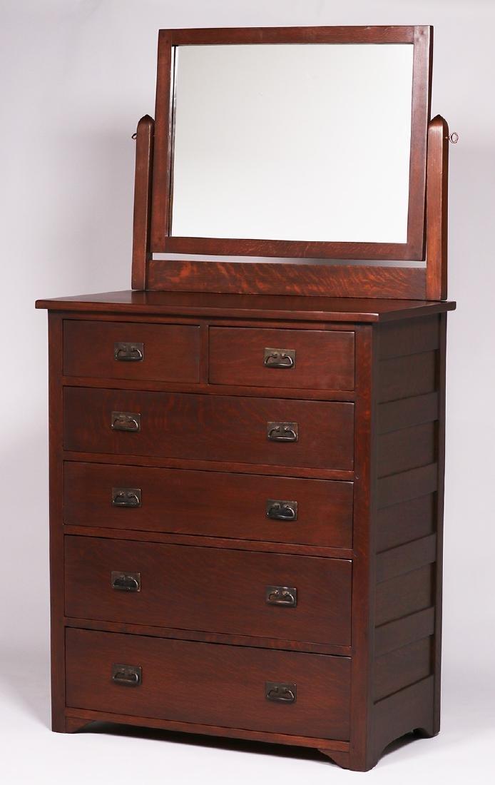 L&JG Stickley 6-drawer dresser with mirror.