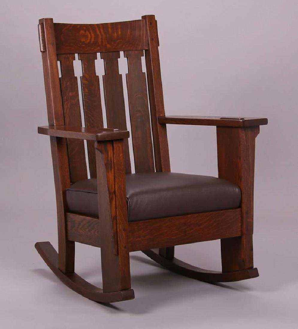 Charles Stickley Tall Back Rocker c1910