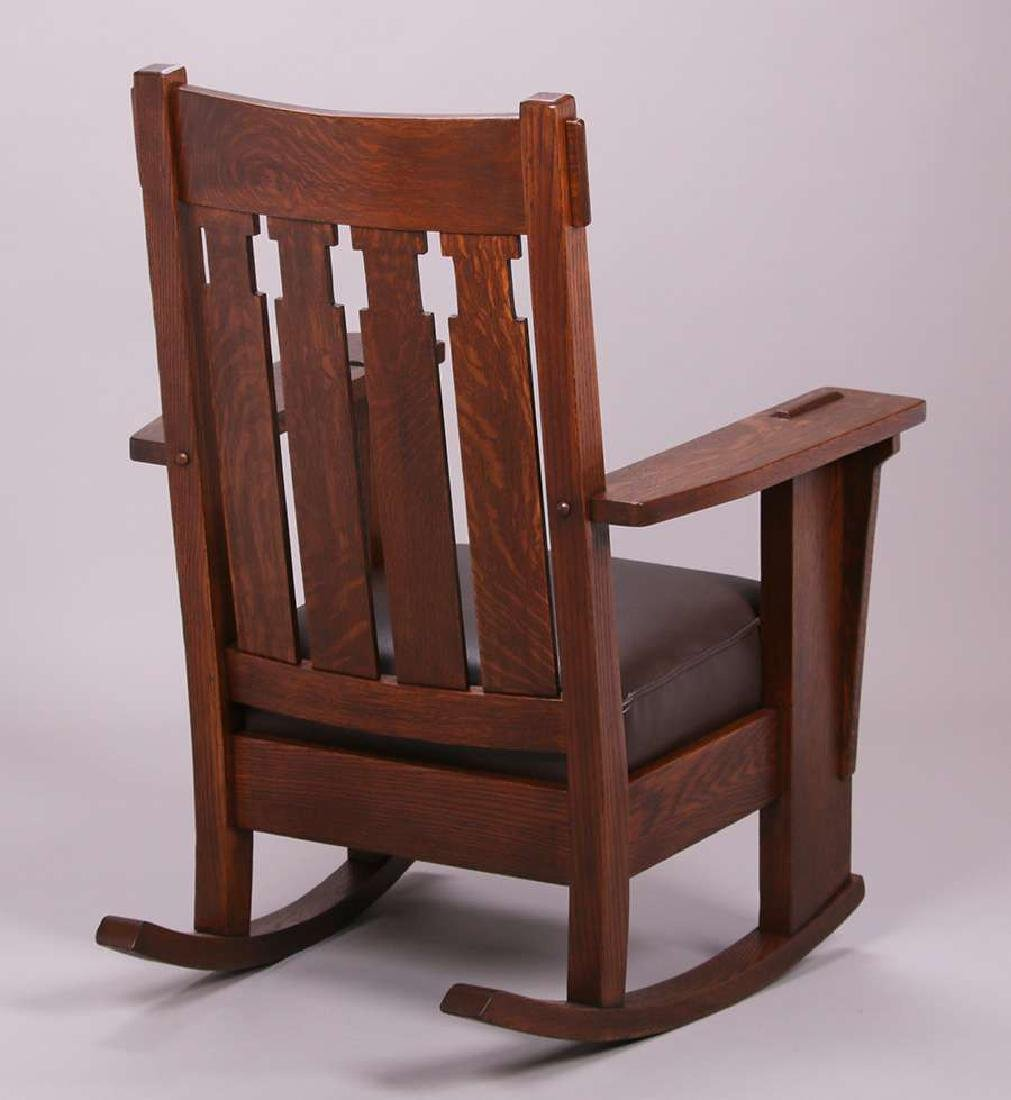 Charles Stickley Tall Back Rocker c1910 - 3