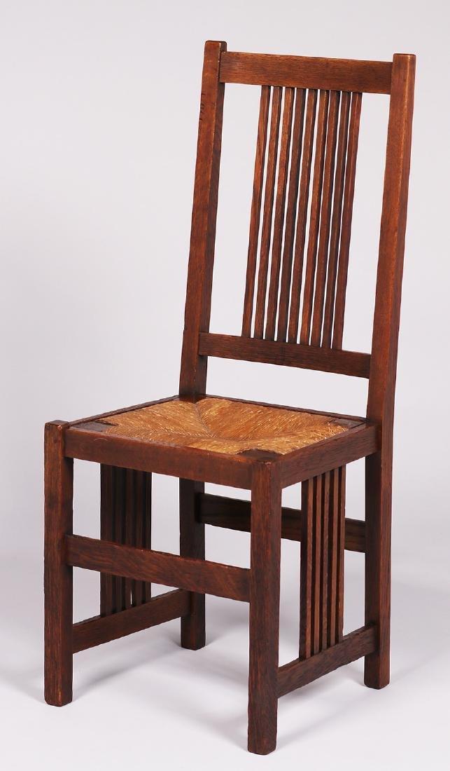 Gustav Stickley spindled side chair c1907-1910.