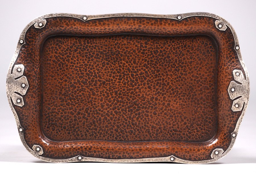 Joseph Heinrichs Hammered Copper & Silver Tray