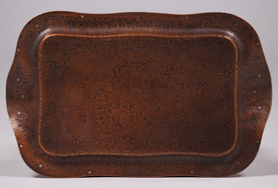 Joseph Heinrichs Hammered Copper & Silver Tray - 3