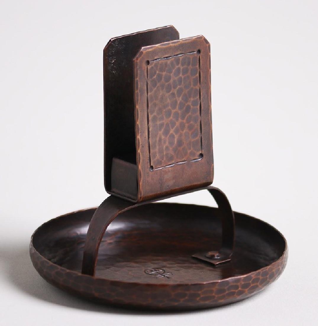 Roycroft hammered copper matchbox holder ashtray