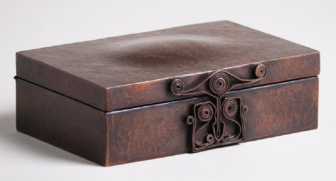 Large Harry St John Dixon hammered copper puzzle box.