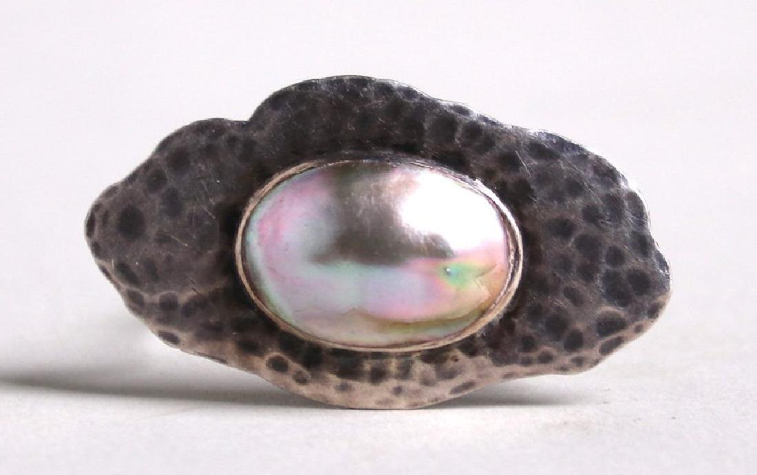 Arts & Crafts Hammered Sterling Silver Brooch c1910