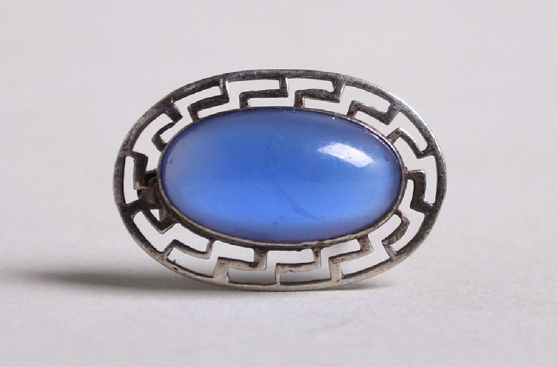 Arts & Crafts Sterling Silver Cutout Oval Brooch