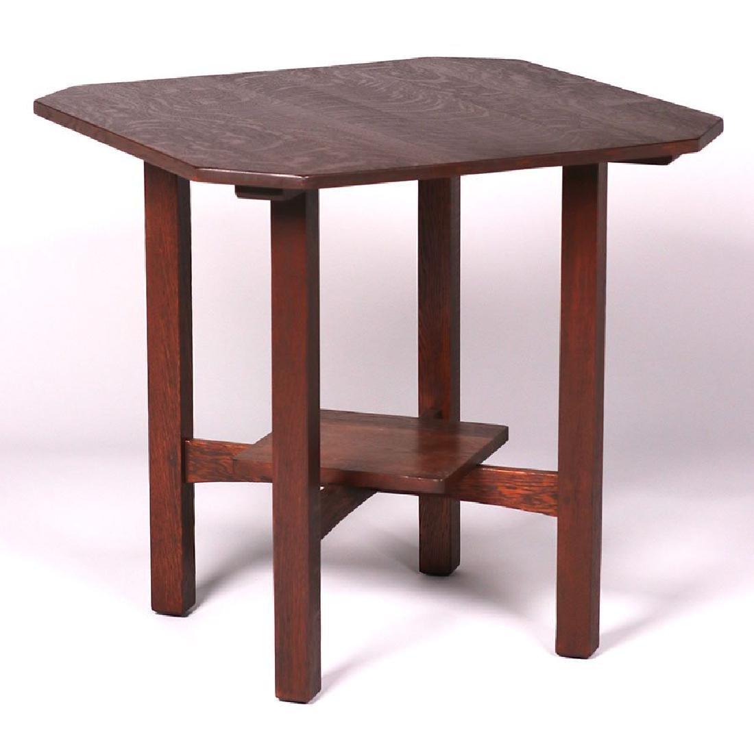 L&JG Stickley clip-corner lamp table.