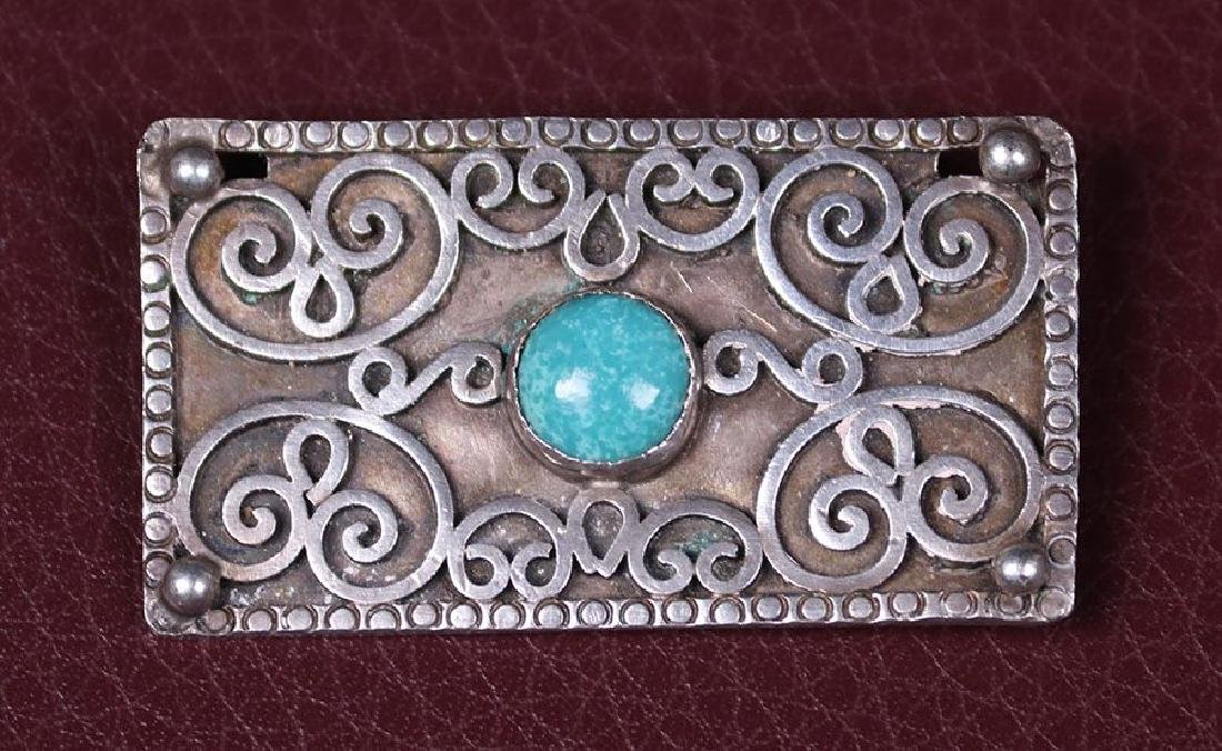 Arts & Crafts Sterling Silver Rectangular-Shaped Brooch