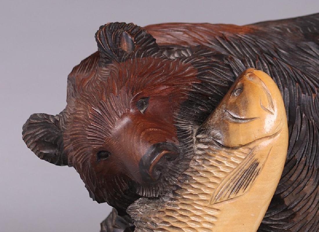 Japanese Arts & Crafts Hand Carved Bear from Hokkaido - 2