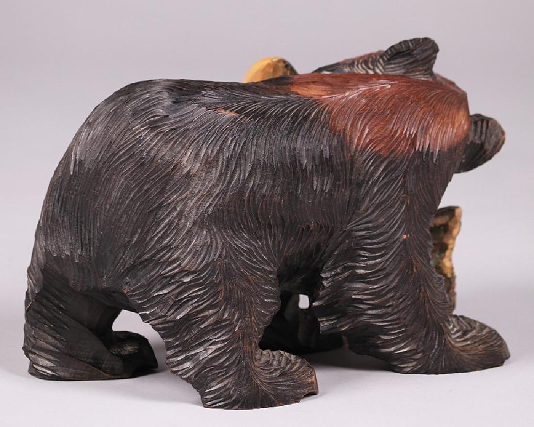 Japanese Arts & Crafts Hand Carved Bear from Hokkaido - 3
