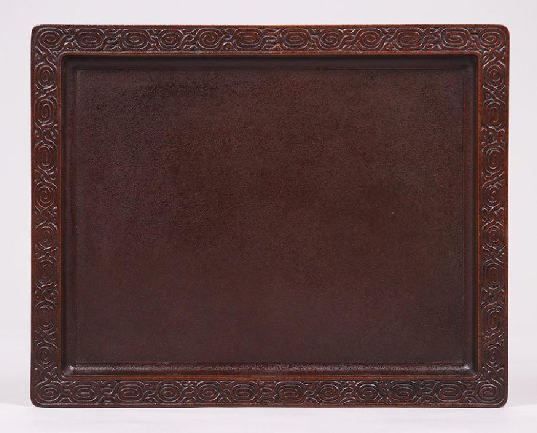 Tiffany Studios bronze rectangular tray.
