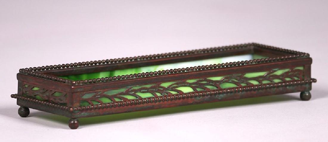 Tiffany Studios bronze overlay pen tray.