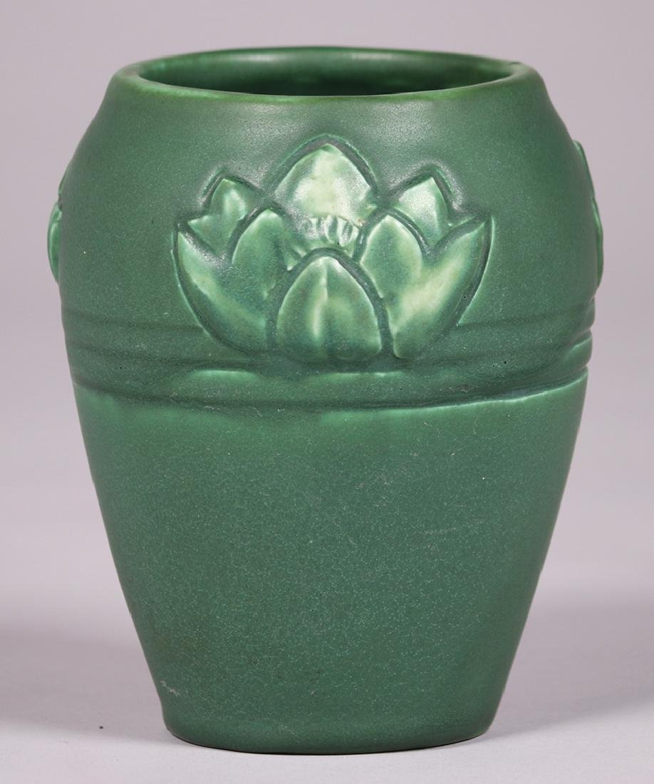 Rookwood matte green vase with carved water lilies by