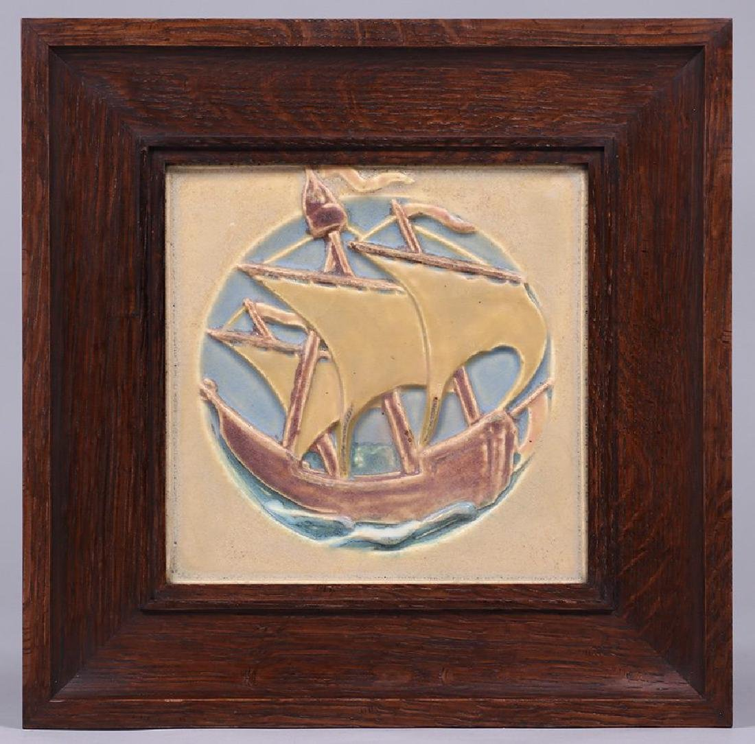 Rookwood Galleon Ship Tile with custom Tim Holton oak