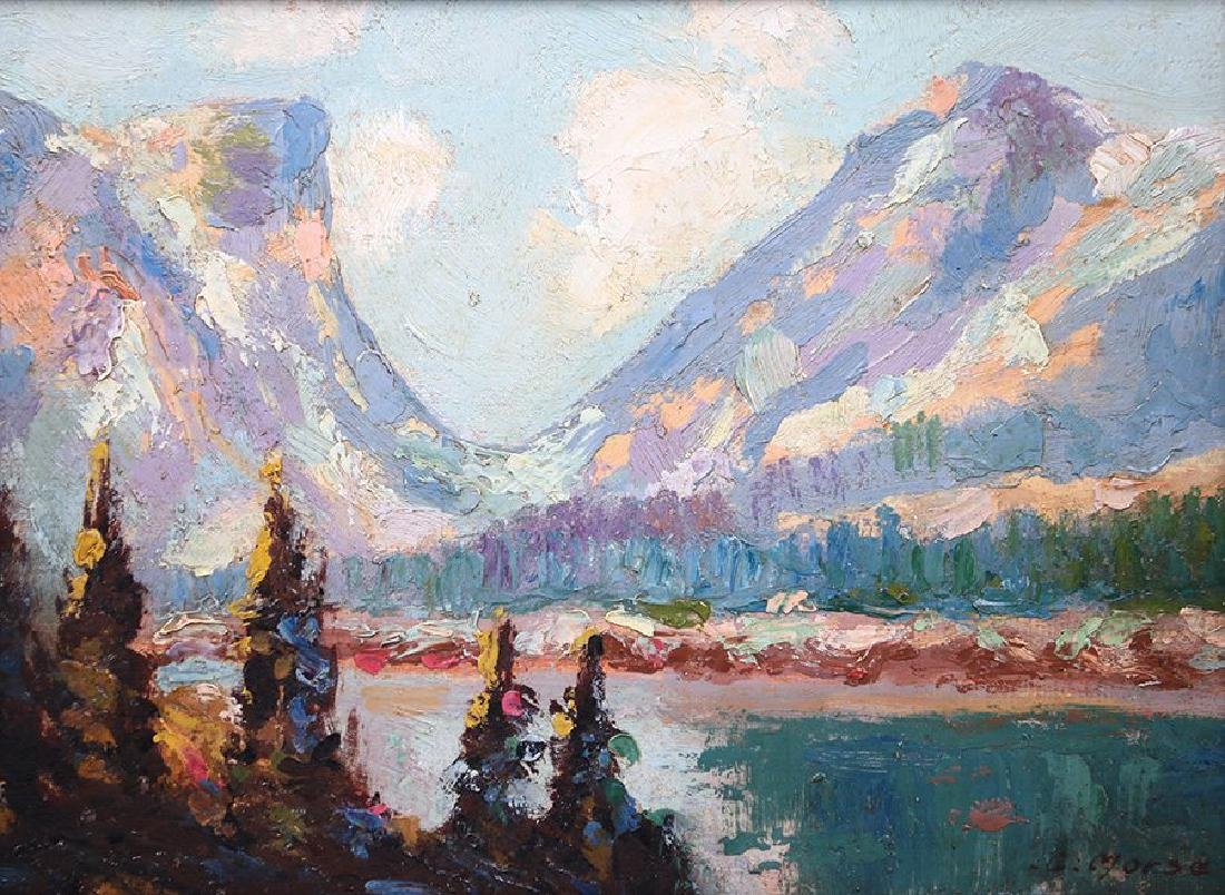 G. Morse Oil Painting of Sierra Mountain Lake c1910