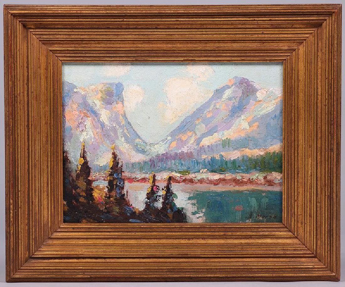 G. Morse Oil Painting of Sierra Mountain Lake c1910 - 2