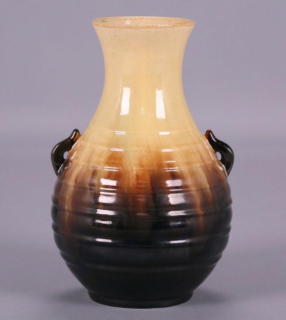 Fulper Two-Handled Vase Mirror Black Glaze