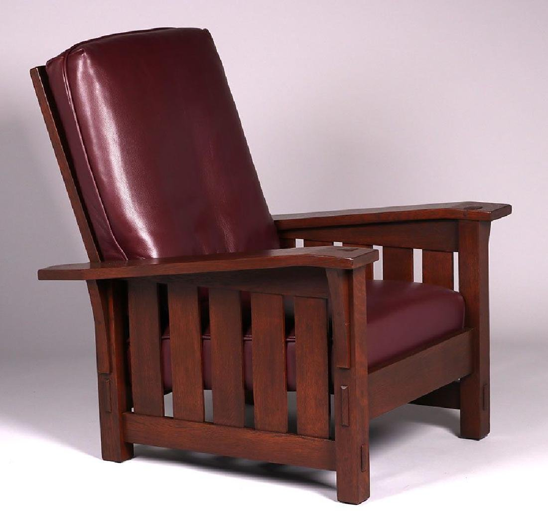 Gustav Stickley #369 bentarm slatted morris chair.