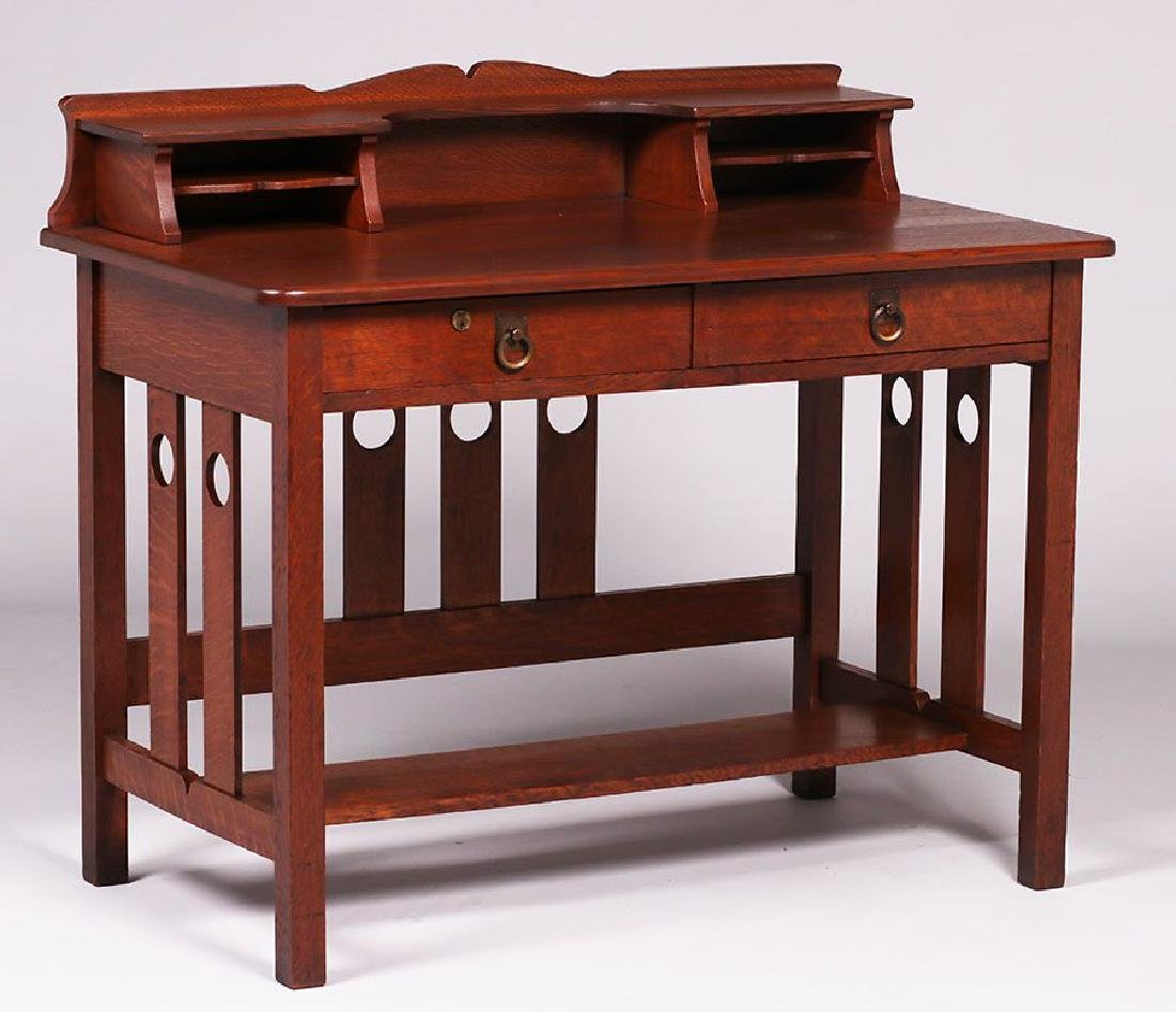 Stickley Brothers two-drawer desk