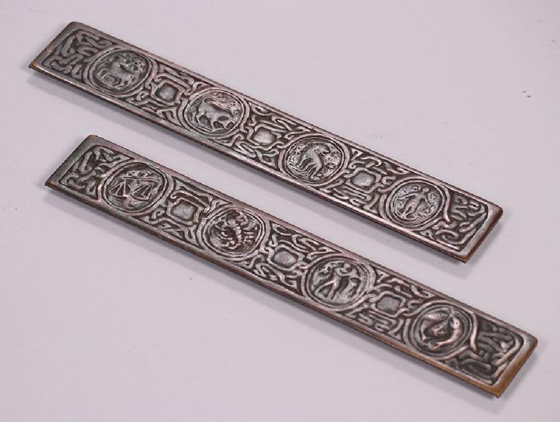 Tiffany Studios Bronze Zodiac Desk Pad Holders