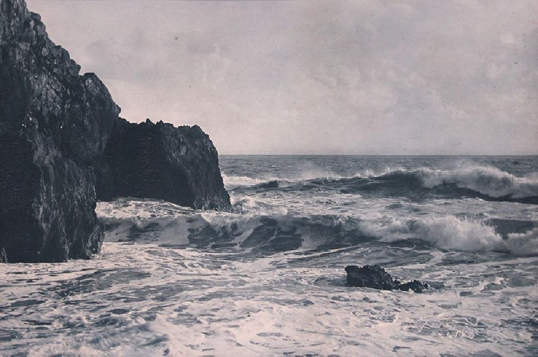 Vintage Photo of California Coast - Waves and Rocks