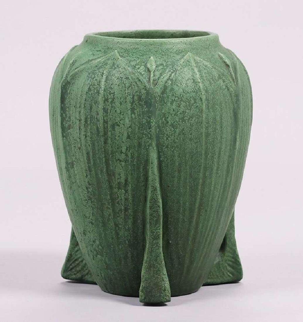 Large Wheatley Pottery matte green buttress vase.