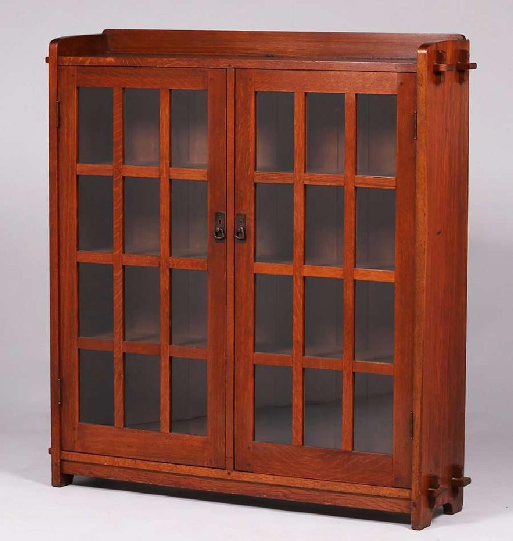 L&JG Stickley two-door bookcase with tenon & key