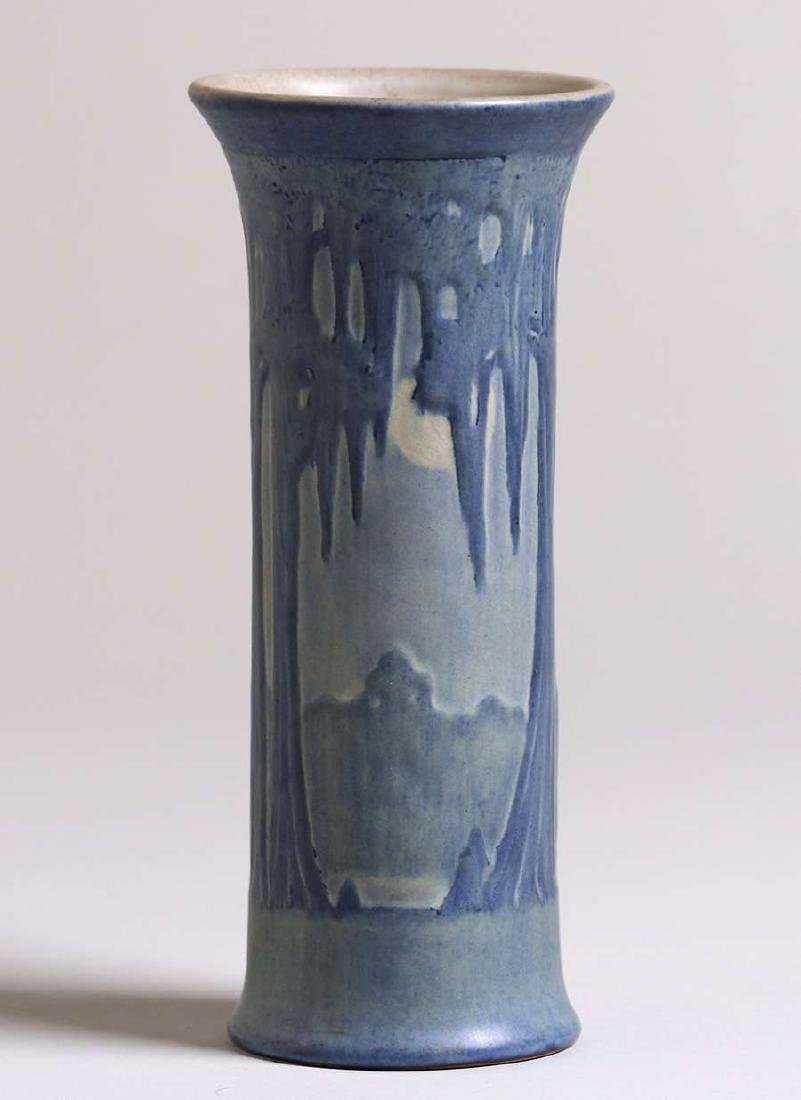Newcomb College tall flared scenic vase with Spanish