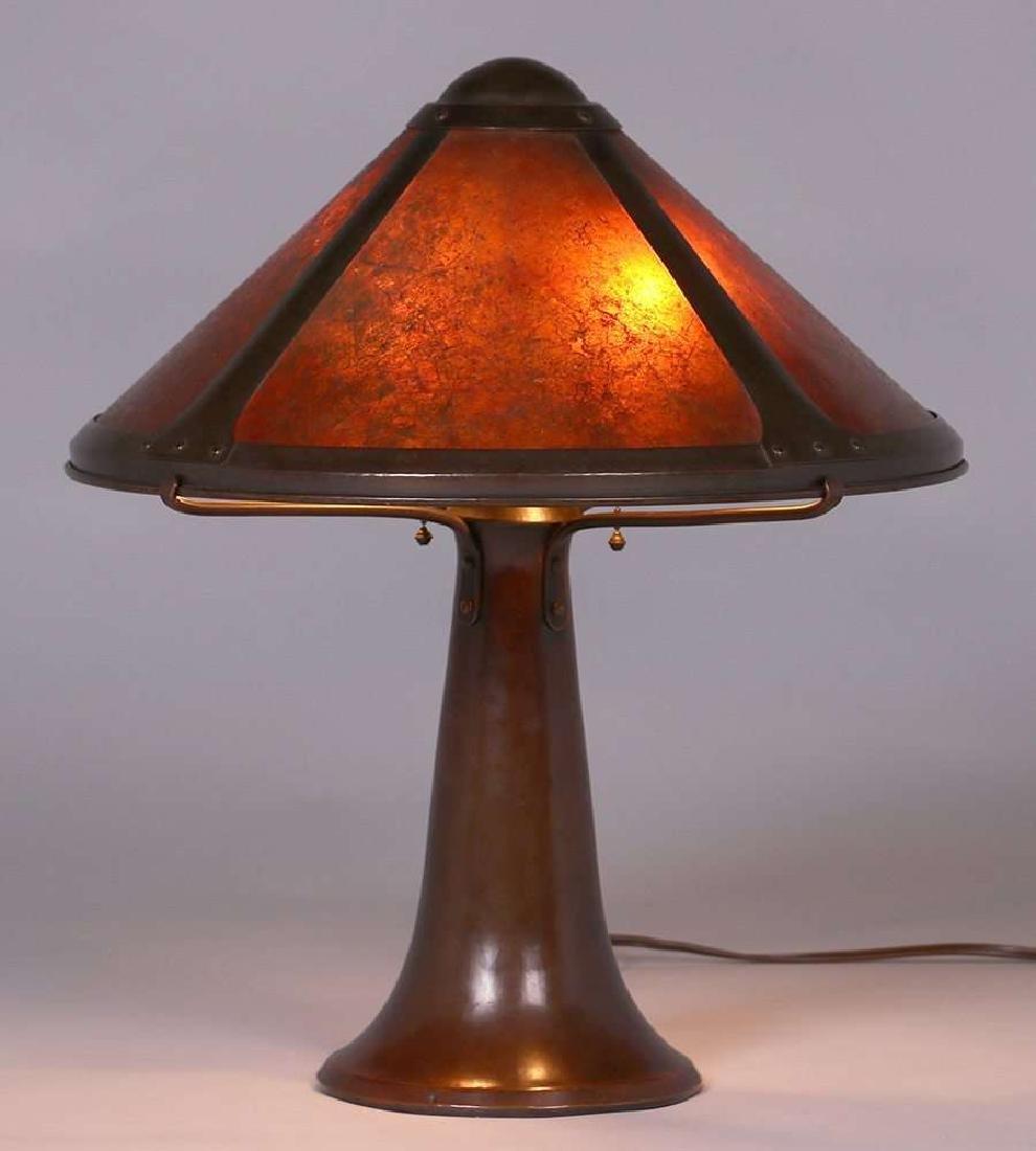 Dirk van Erp Hammered Copper & Mica Trumpet-Base Lamp - 2
