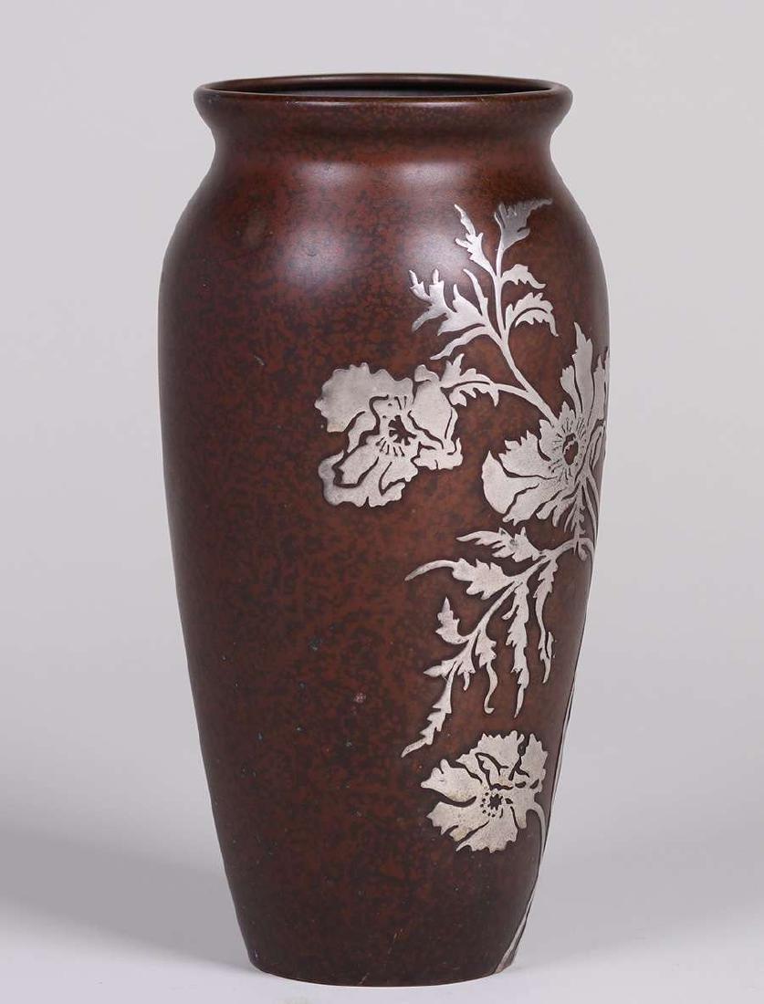 Heintz Sterling on Bronze Tall Vase - 2