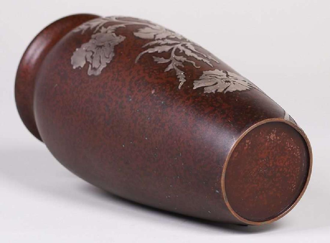 Heintz Sterling on Bronze Tall Vase - 3