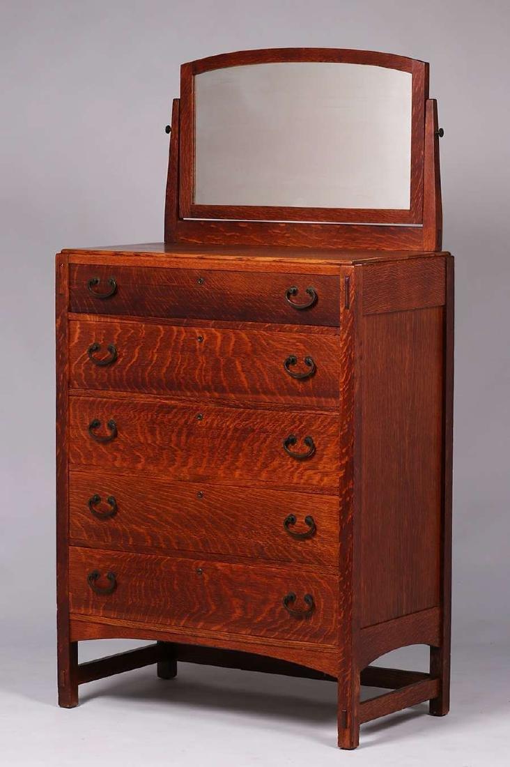Limbert tall five-drawer dresser with mirror.