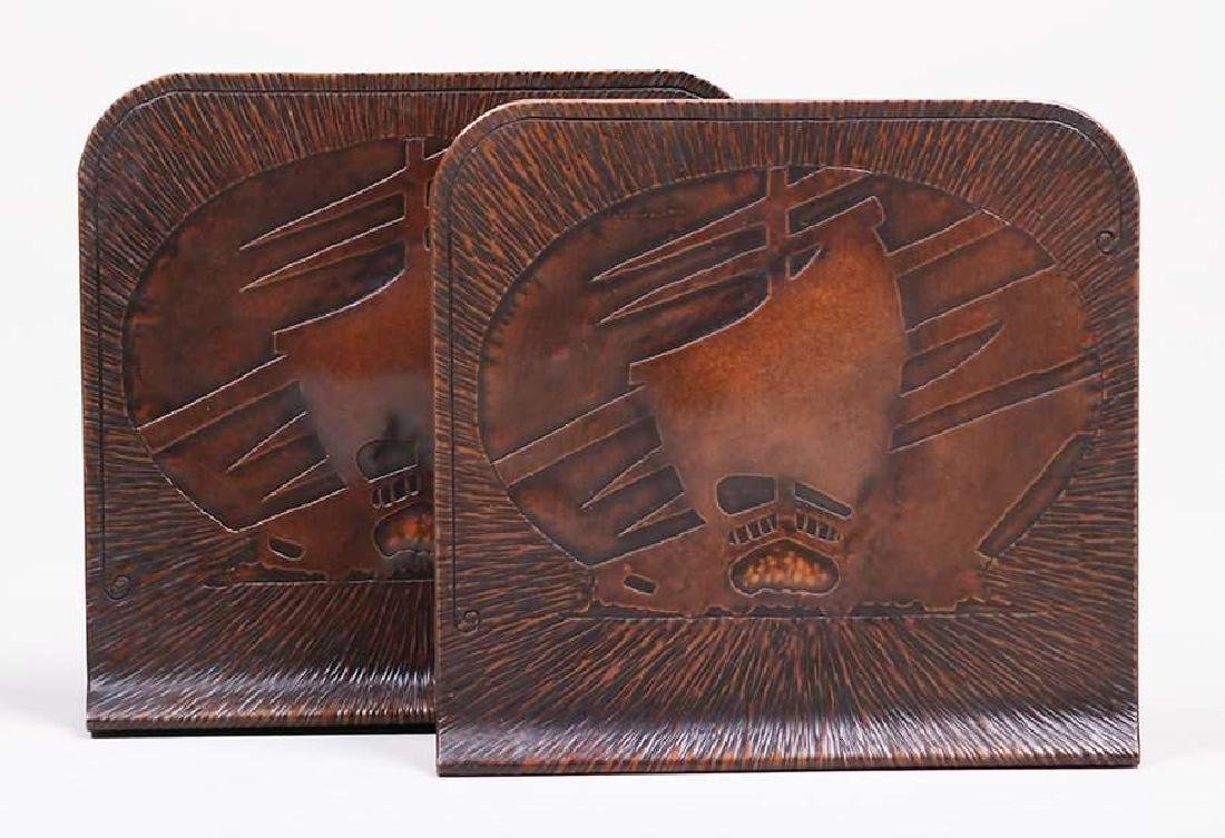 Arts & Crafts hammered copper bookends with acid-etched