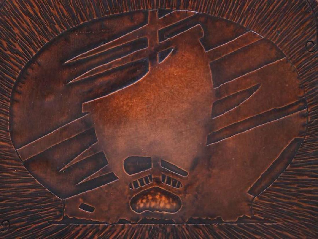 Arts & Crafts Hammered Copper Acid-Etched Bookends - 2