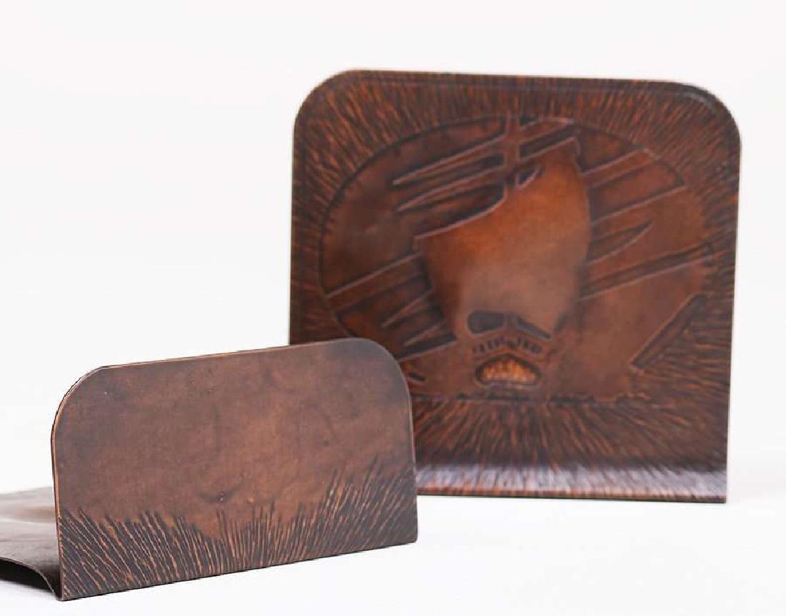 Arts & Crafts Hammered Copper Acid-Etched Bookends - 3