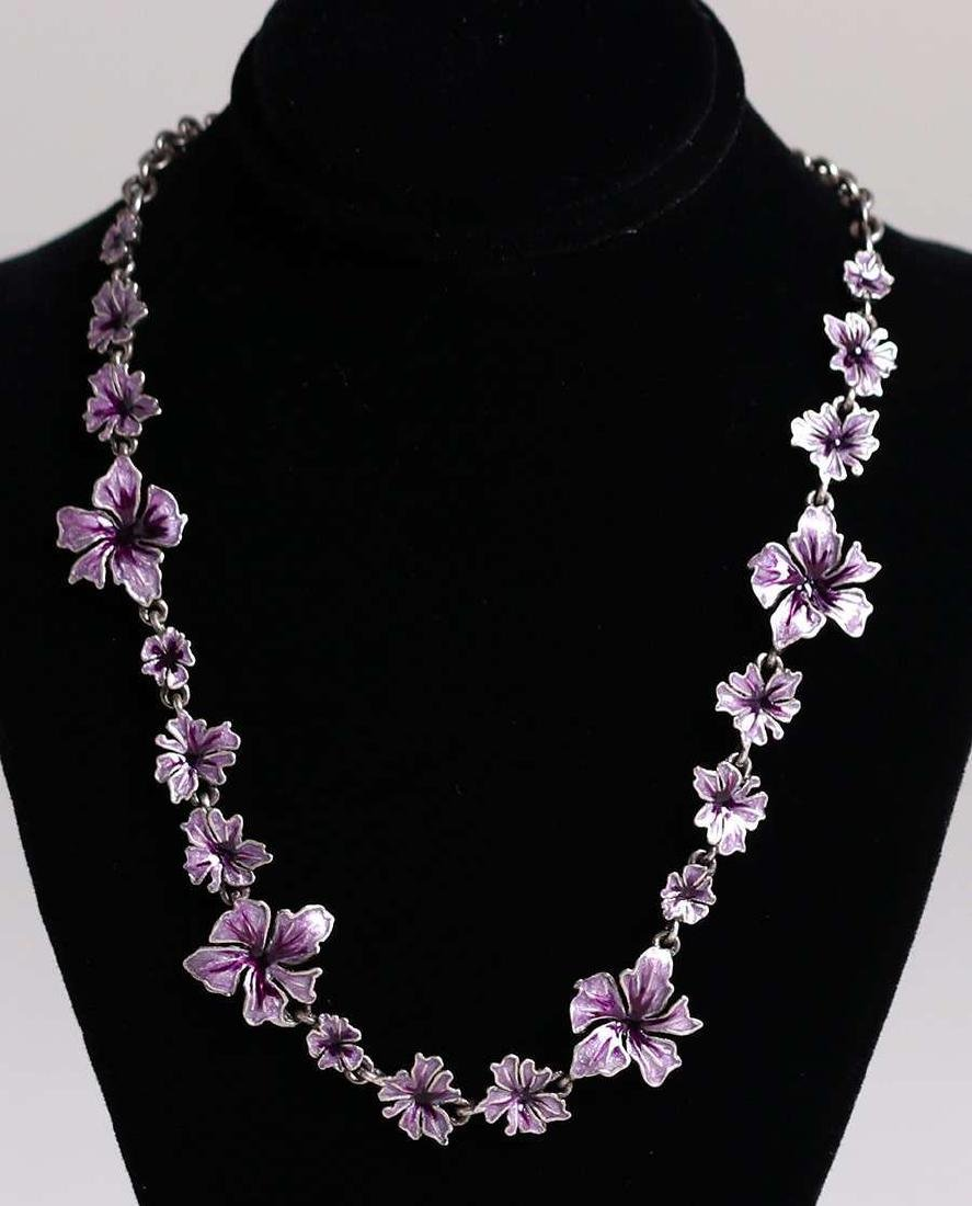 Arts & Crafts Sterling Silver Purple Enamel Necklace