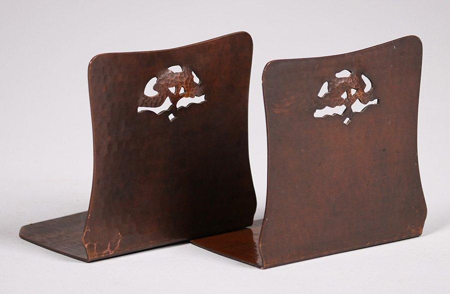 Dirk van Erp hammered copper bookends with oak tree