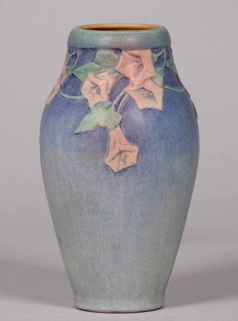 Newcomb College tall floral vase decorated by Anna