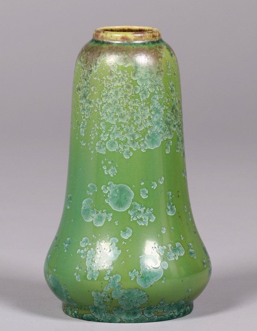 Thomas Gotham green crystalline vase.