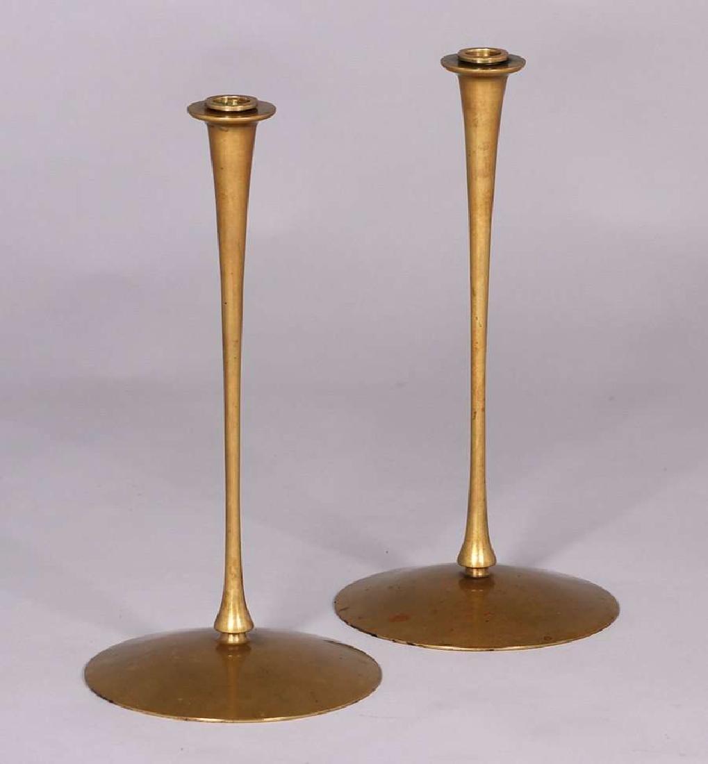 Pair of Jessie Preston tall brass candlesticks with