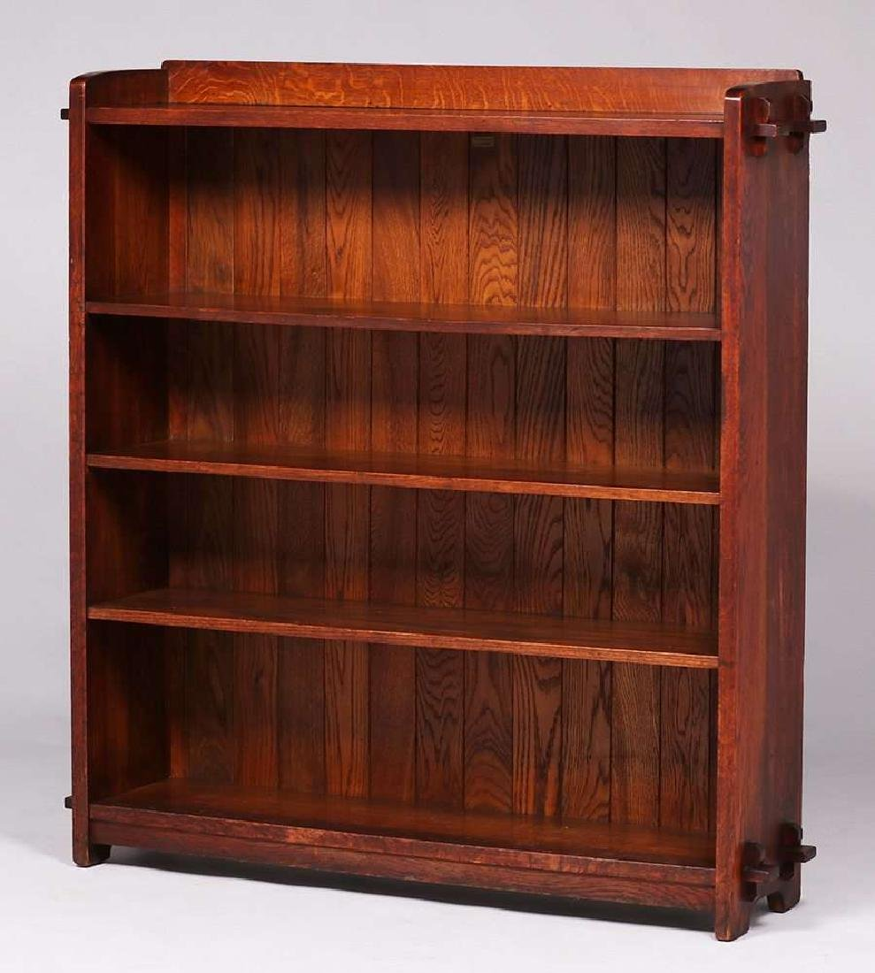 L&JG Stickley open bookcase with chamfered board back