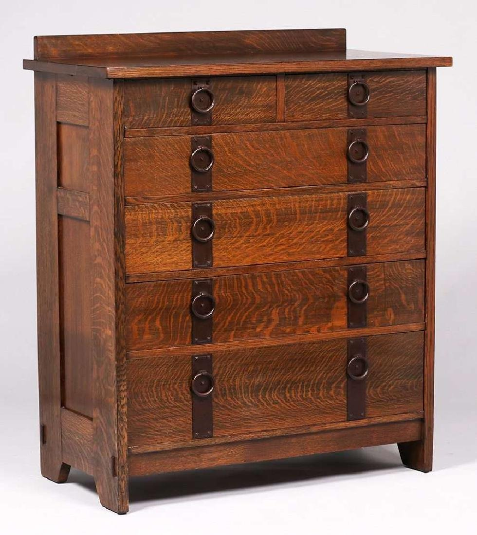 Gustav Stickley tall chest of drawers with fantastic