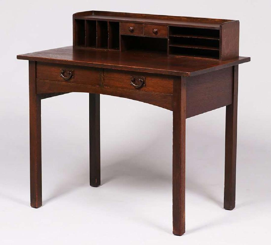 Gustav Stickley two-drawer postcard desk c1912.
