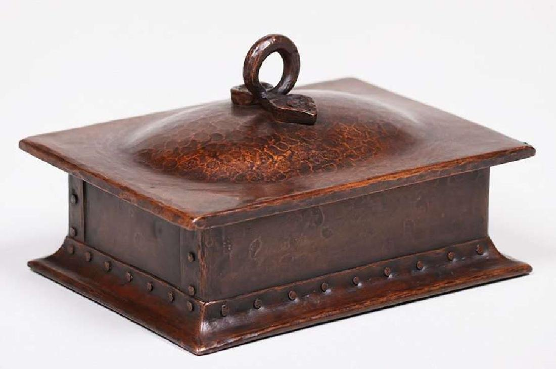 Gustav Stickley hammered copper cigar box.